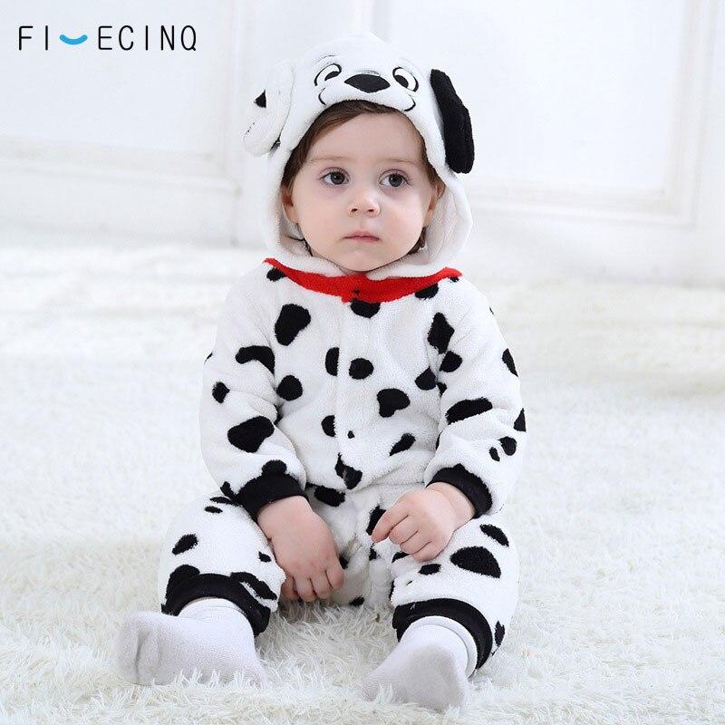 Baby Boys Girls Onesie Dalmatians Spotty Dog Cosplay Costume Flannel Warm Black White Cute Animal Kigurumis Kids Jumpsuit Pajama