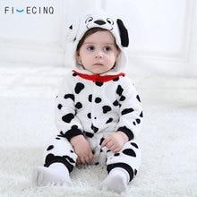 Baby Jongens Meisjes Onesie Dalmatiërs Spotty Hond Cosplay Kostuum Flanel Warm Zwart Wit Leuke Dier Kigurumis Kids Jumpsuit Pyjama