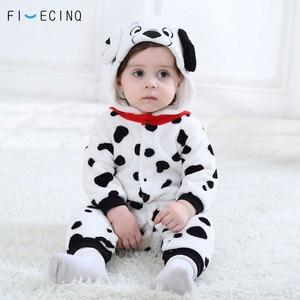 Image 1 - 男の赤ちゃん女の子カバーオールダルメシアンむら犬コスプレ衣装フランネル暖かいブラックホワイトかわいい動物 kigurumis 子供ジャンプスーツパジャマ