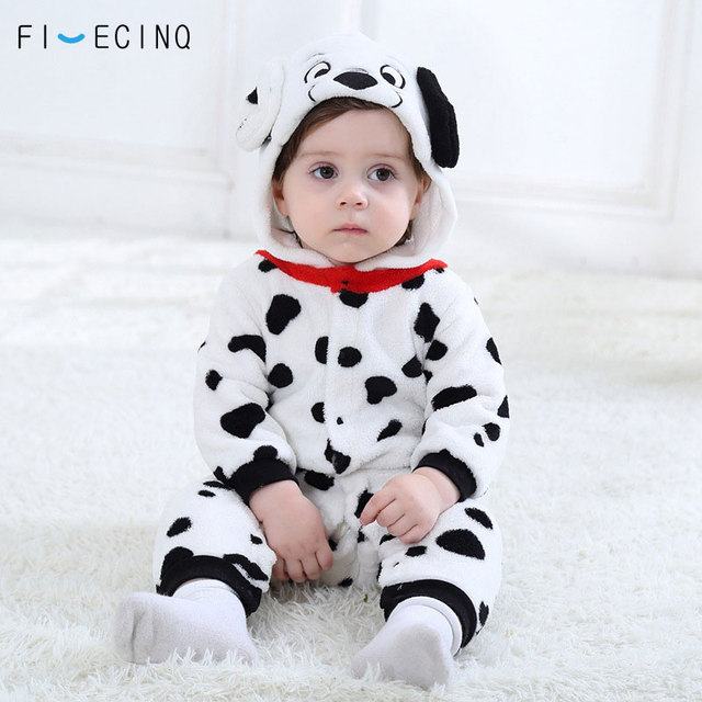 男の赤ちゃん女の子カバーオールダルメシアンむら犬コスプレ衣装フランネル暖かいブラックホワイトかわいい動物 kigurumis 子供ジャンプスーツパジャマ