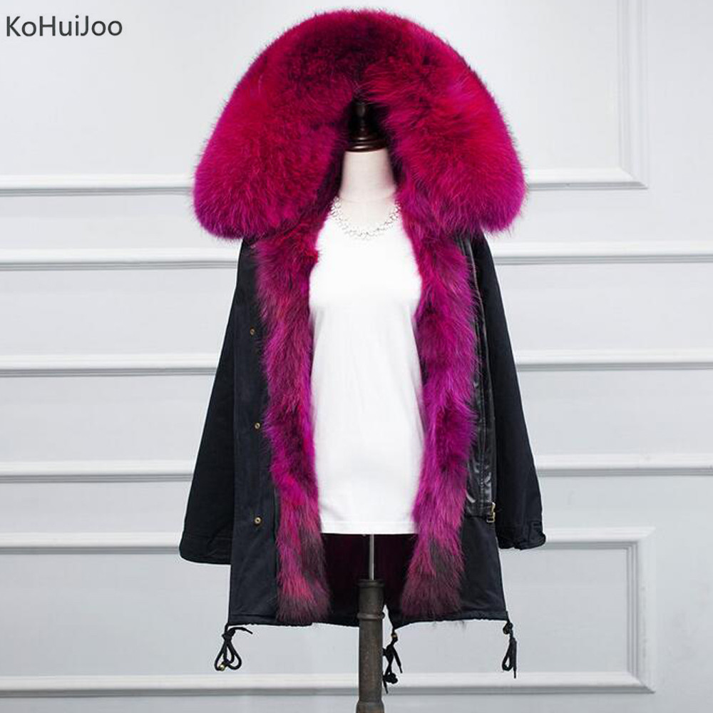 KoHuiJooS-3XL Winter Women Army green Large Raccoon Fur Collar Hooded Coat Warm Detachable Natural Fox Fur Lining Parka Coats kohuijoos 3xl winter women army green large raccoon fur collar hooded coat warm detachable natural fox fur lining parka coats