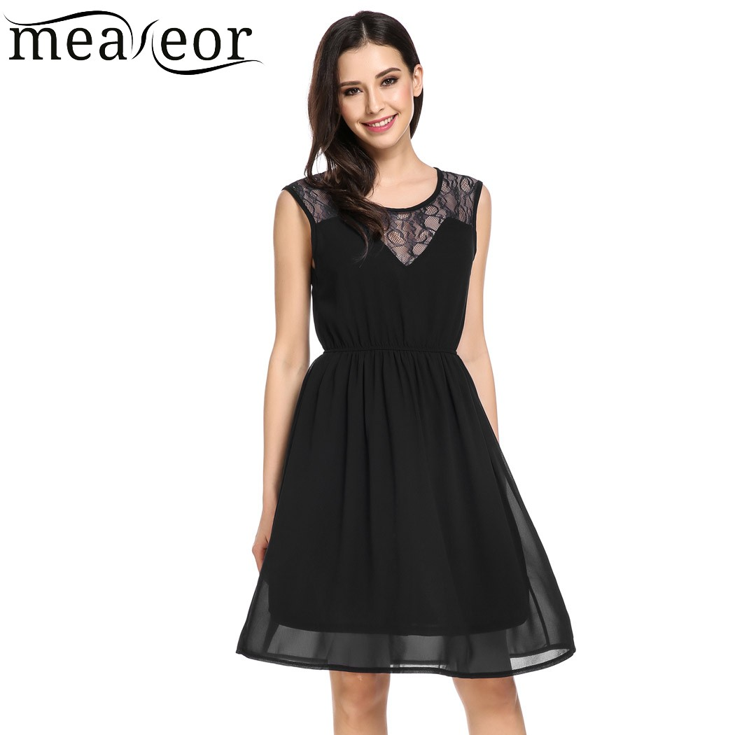 Meaneor Women Casual Sleeveless Solid Floral Lace Chiffon Fashion Pleated Dress 2018 Spring Summer New Ladies Femme Party Dress
