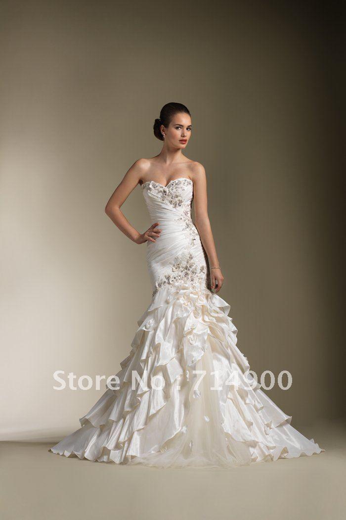 Curvy Corset Mermaid Style Beading Taffeta Tulle Sweetheart Wedding ...