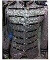 Venda quente! 2016 Novos Ternos Masculinos Blazer Prata Lantejoulas Bordados Magro Homens Jaqueta Traje Desempenho Desgaste Estágio Estrela Concerto casaco