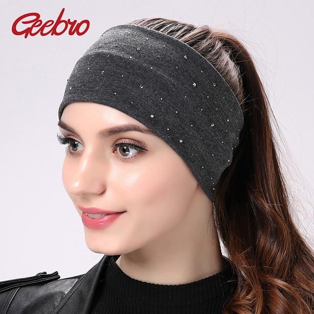 Geebro Brand Women s Rhinestone Headband Fashion Cotton Black Flat Head  Bands for Girls Elastic Turban Wrap Hair Accessories e05d62087f