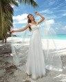 Dreagel Elegante Cap Lace Mangas Tulle Praia Vestido de Noiva 2017 Delicate Império Cintura Frisada Applique vestido de Noiva Robe de Mariage