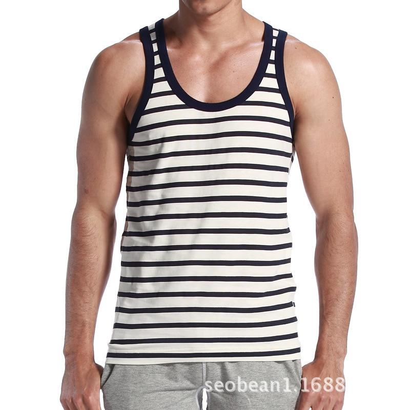 48b8306219341 Homens Regata Listrada Longarinas do Sexo Masculino Sem Mangas Top T shirt Camisas  masculino Regatas Singletos Mens Tanque Suspiro Músculo Camisa Ocasional ...
