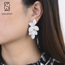 SisCathy 2019 New Fashion Jewelry Luxury AAA Cubic Zirconia Big Leaves Earrings For Women Trendy Dubai Dangle Drop Earrings