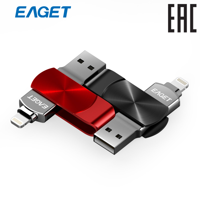 USB/lightning flash drive Eaget i66-64G  For iPhone MFi Certified eaget f50 rotatable 16gb usb 3 0 super speed usb flash drive u disk