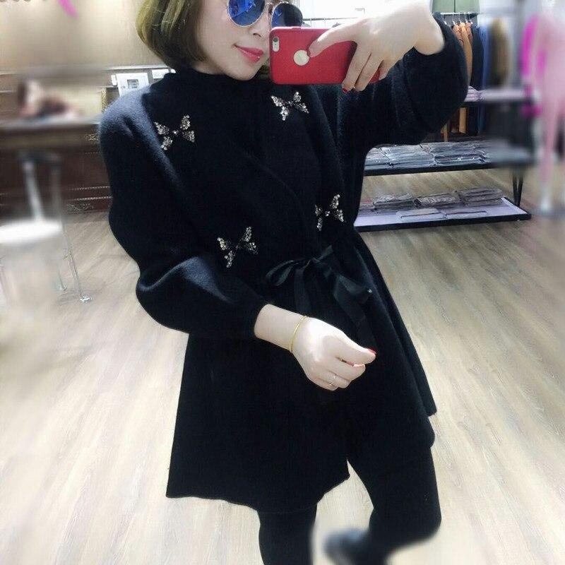 En Femelle Cardigan Papillon Taille Beige Velours D'eau Longue 2018 Femme Nouveau noir Strass Tricot Section Épais Chandail Cavalier Feminino FY1w6q6