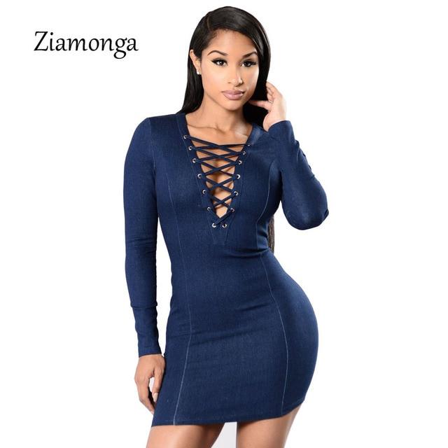 9c44ad80f2 Ziamonga Autumn Winter Women Denim Dress Sexy Deep V Neck Lace Up Bodycon  Dress Long Sleeve One-Piece Mini Short Jeans Dress