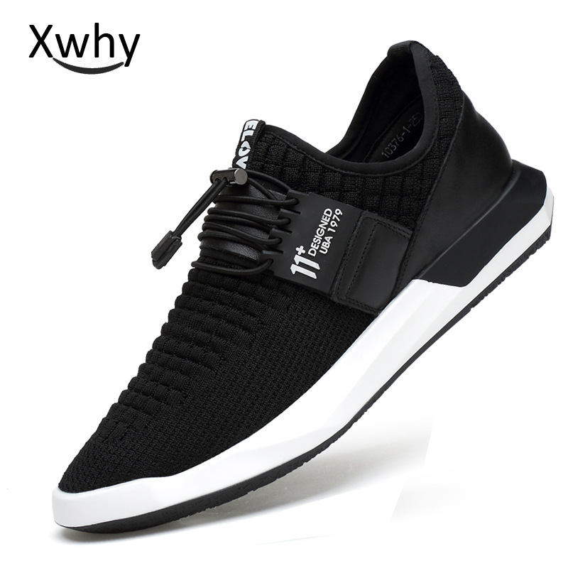 Men Sneakers Sport 2018 Male Running Shoes Blcak Mens Fabric Trainers Elastic Band Breathable Lightweight Mesh Shoes for Running