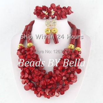Well Made Red Coral Beads Jewelry Set Dubai Wedding&Party Beads Necklace Set Bridal Jewelry Fashion Jewelry Free Shipping ABC776