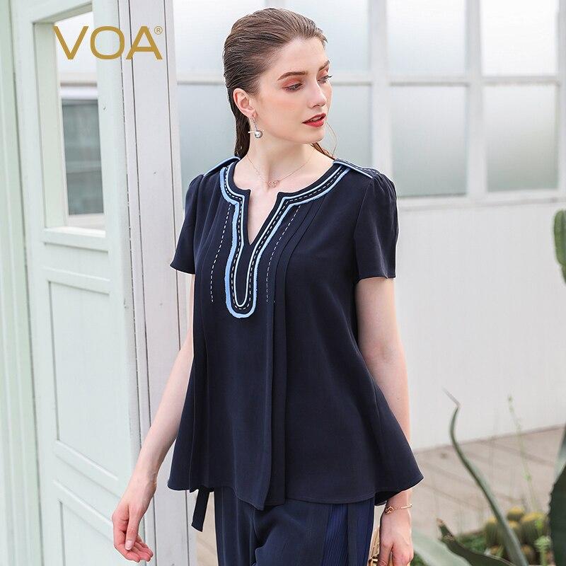 VOA Heavy soie femmes T Shirt bleu marine basique bureau travail dames hauts été à manches courtes lâche grande taille T-Shirt décontracté B536