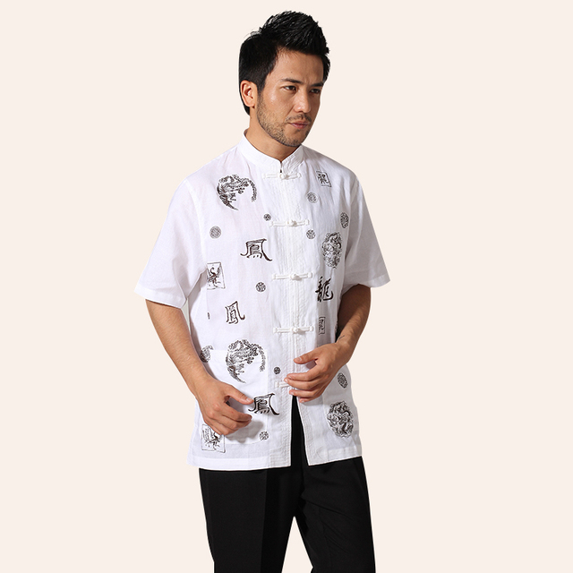 Branco chinês wushu kung fu camisa dos homens do algodão camisa camisa totem vintage clothing manga curta mais a camisa do tamanho s-xxxl mn046