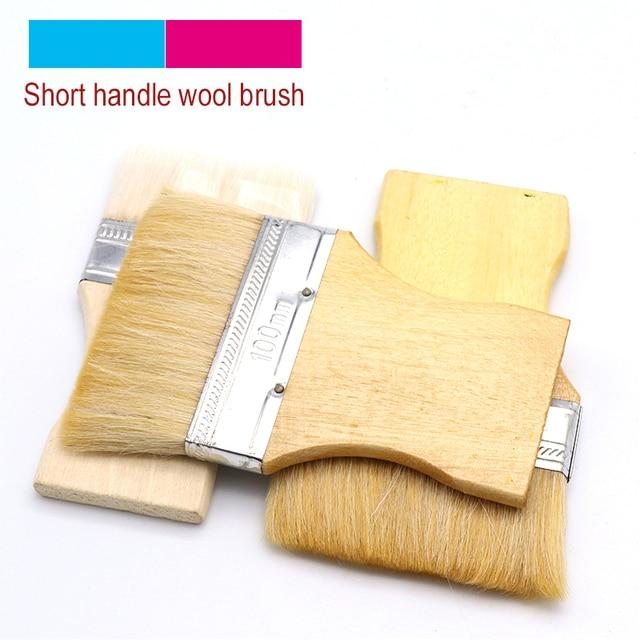 Cepillo de pintura de lana cepillo de fibra Industrial pinceles de pintura de pared aceite acuarela en polvo cerdas mano de madera Manual de limpieza herramienta de arte
