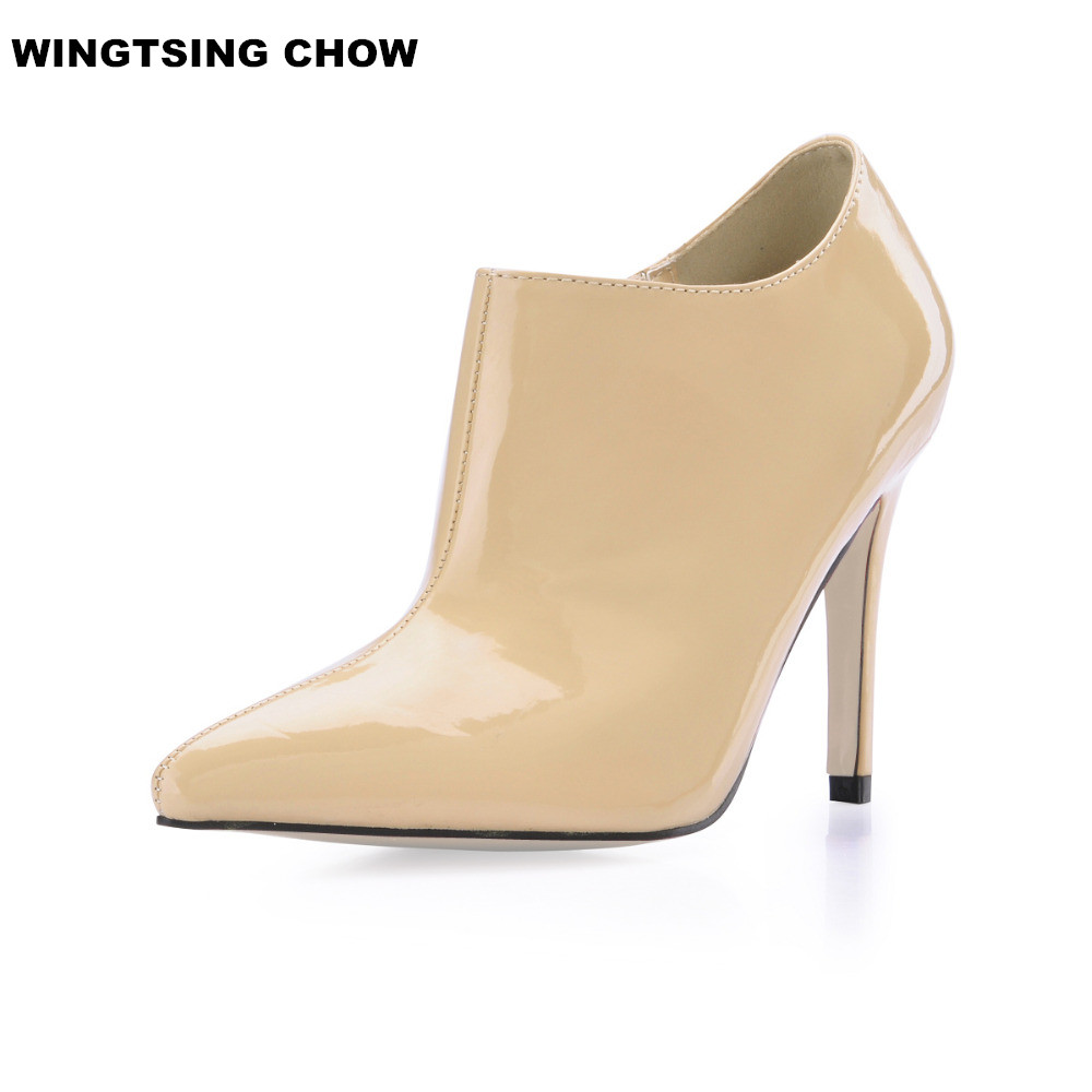 Plus Size 43 Patent Leather High Heel Shoes Woman Sexy Pointed Toe Ladies Shoes Ankle Boots Women Pumps Office Women Shoes fashion women ankle boots pointed toe high heel boots pumps botas femininas ladies boots shoes on platform big size shoes woman
