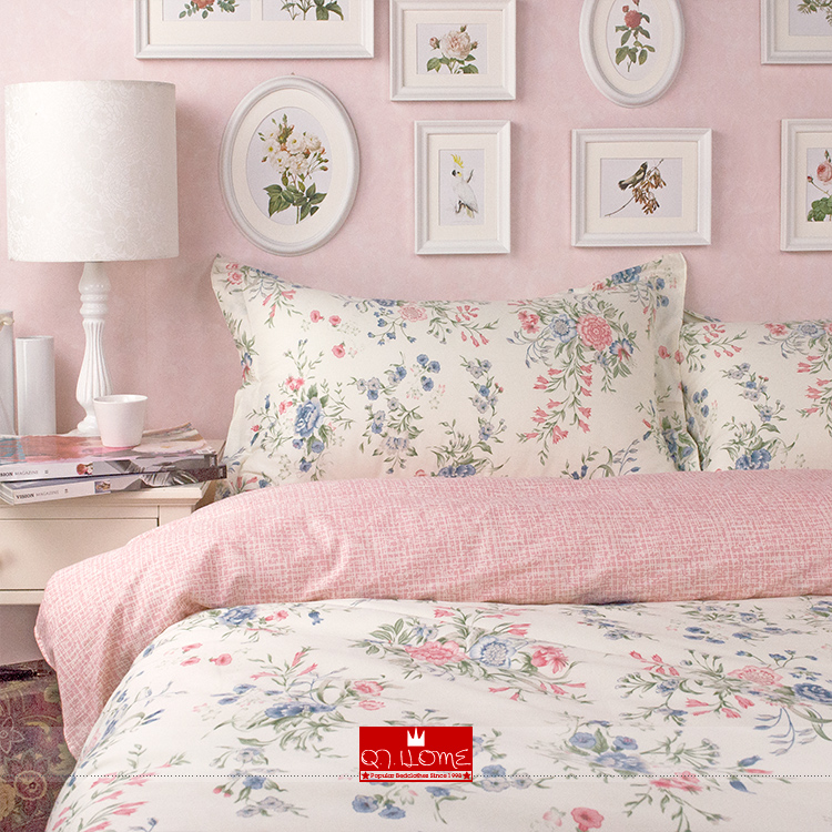 Nordic Ikea Pink Beautiful Flower Bedding Princess Rustic Duvet Cover Set Queen King Size S Wedding Bed 4pcs