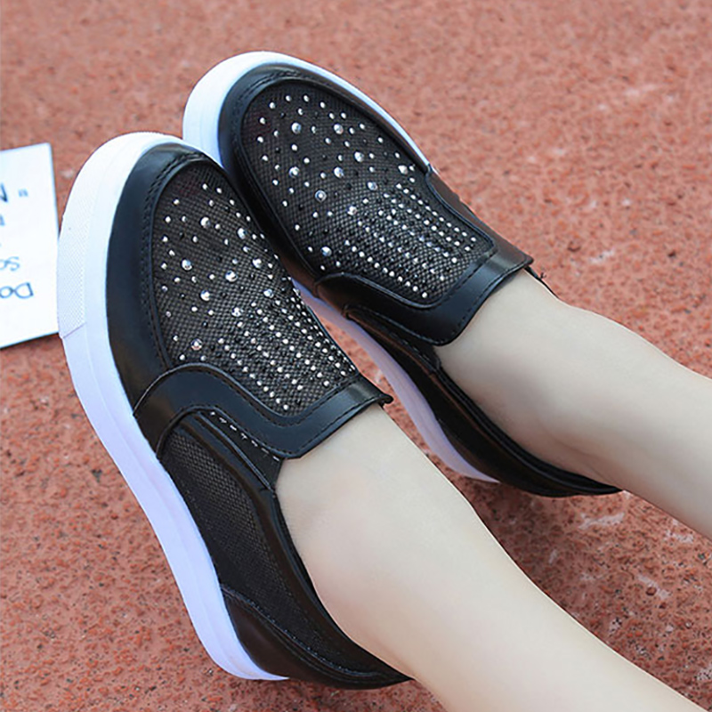 sneakers women wedge platform shoes casual shoes woman loaf slip-on mesh shoes 2018 hot increase fashion crystal black shoes