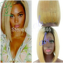 Hot Free Shipping Two Tone #1b/#613 Ombre Full Lace Bob Wig/Glueless Lace Front Human Hair Wigs Short Brazilian Straight Hair