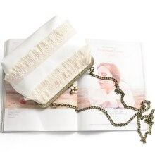 2016 new fringed bag Qing new mini simple Sen female line small bag shoulder diagonal cross Chain Purse