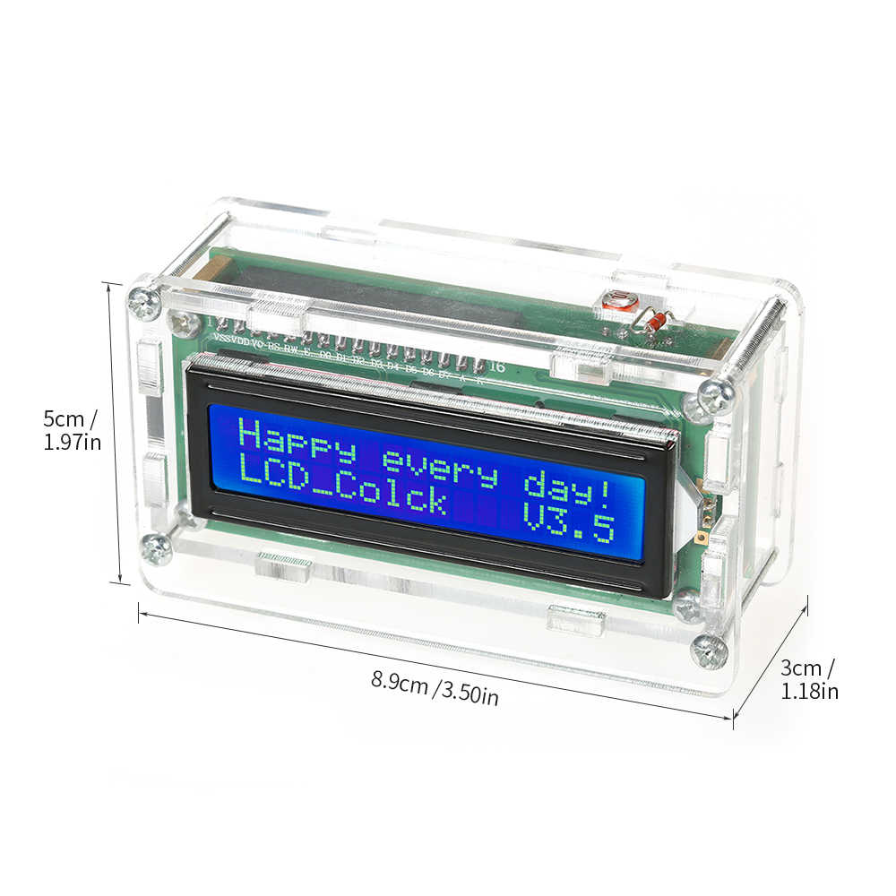 ساعة رقمية DIY عدة تاريخ وقت عرض درجة الحرارة مع شفافة حالة LCD عرض الوقت درجة الحرارة التسجيل و يوم