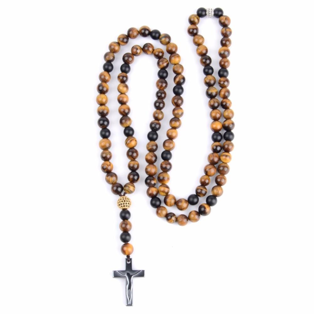 Fashion Cross Pendant Necklaces Bracelets Men Natural Stone Tiger eye Beads Long Necklac ...