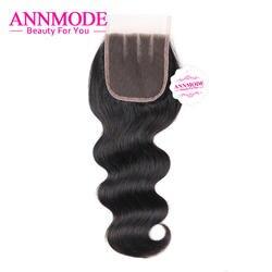 Закрытие малазийский объемная волна свободная Средний три части 4x4 кружева закрытия человеческих волос не Реми 8-20 дюймов Annmode Бесплатная