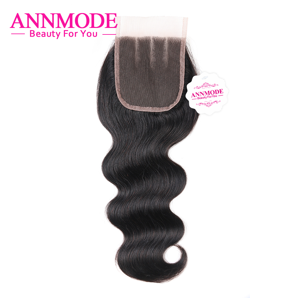 Malaysian Body Wave Closure Free Middle Three Part 4x4 Lace Closures Human Hair Non Remy 8-20 Inch Annmode Free Shipping