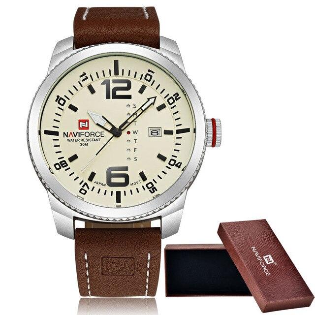 2016 Luxury Brand NAVIFORCE Fecha Hombres reloj de Cuarzo Militar Deportes Relojes de Pulsera de Cuero Ocasional Reloj Masculino Del Relogio masculino