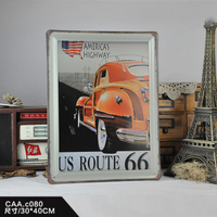 US ROUTE 66 Large Vintage Metal Painting Poster Wall Sticker Tin Sign Retro Iron Art Bar Cafe Wall Decoration 30X40 CM