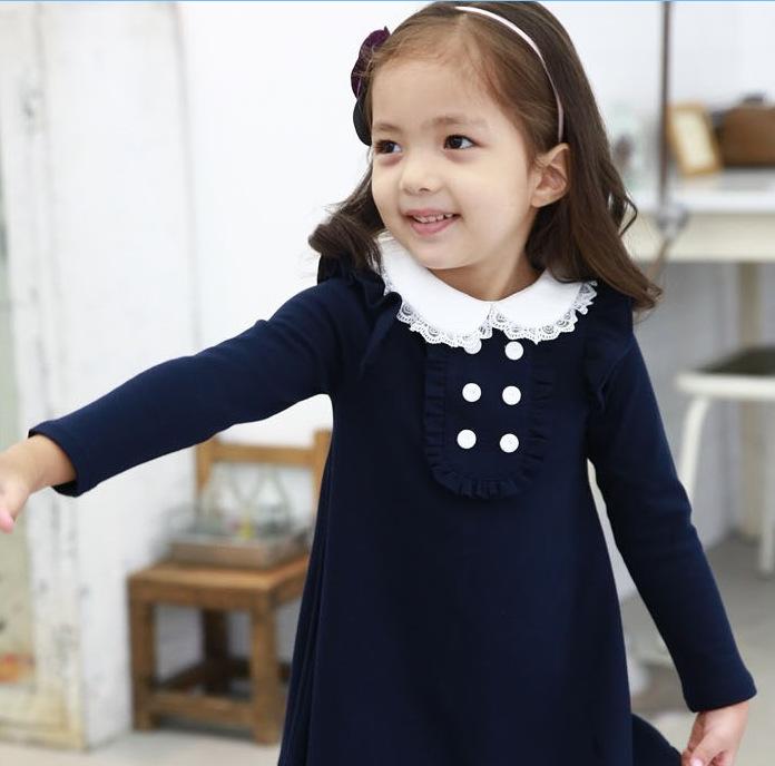 HTB1EBGeLpXXXXb5XVXXq6xXFXXXu - 2017 spring autumn new arrival cotton girl korean clothes doll collar long sleeved casual girls A-line mini dress kids clothing