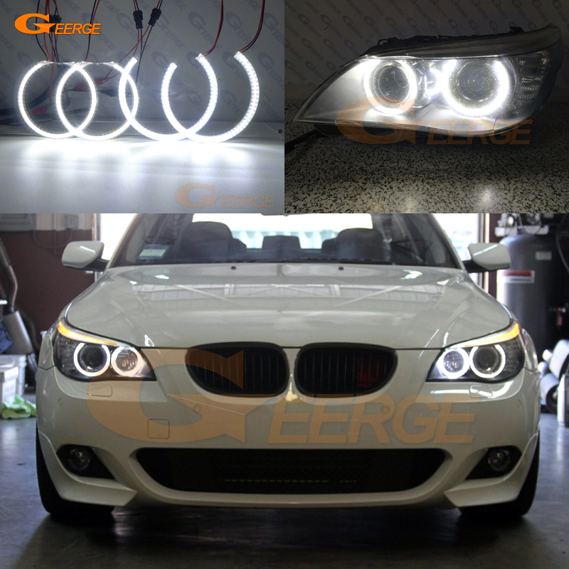 For BMW E60 E61 LCI 525i 528i 530i 535i 545i 550i M5 XENON HEADLIGHT Excellent DRL Ultra bright smd led angel eyes kit for bmw 5 series e60 m5 e61 car front headlamp housing clear lens shell cover for bmw 525i 530i 528i 535i 540i 550i 545i n001