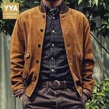 Vintage Cow Suede Jacket Men Genuine Leather Bomber Jackets