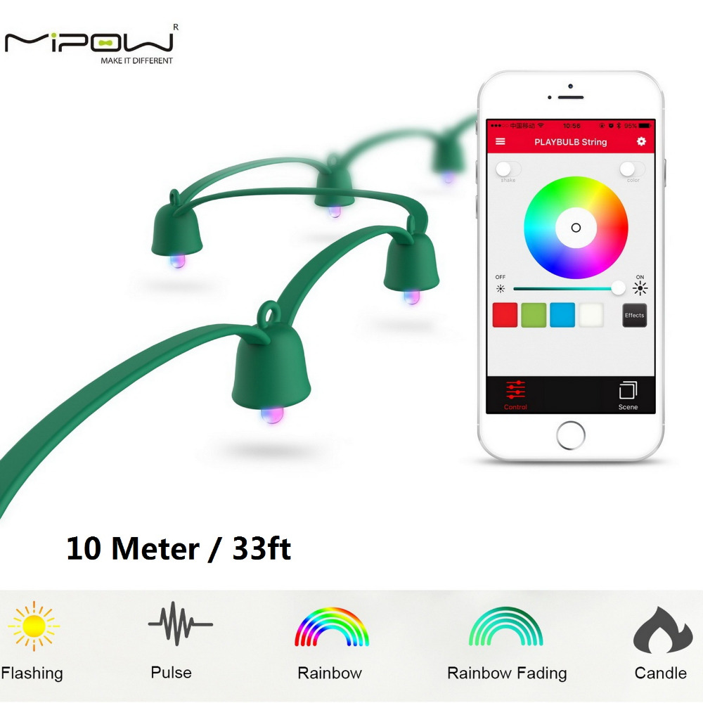 MIPOW PLAYBULB 10m Smart Christmas LED String Outdoor Xmas Decorations Party Lighting Colorful Lights Fairy Rope Light