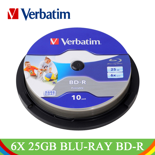 Verbatim BD-R 25GB 6X Blu-ray Printable Blank Disc Bluray Inkjet 10PK Spindle Recordable Media Lot Blank Disk Compact 64099