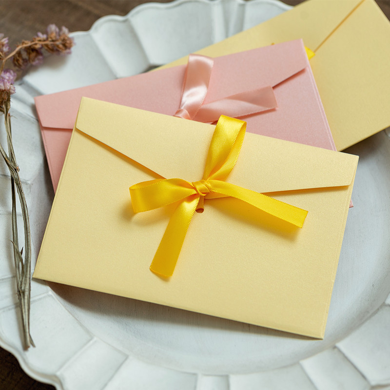 Image 2 - 40pcs/set Vintage Bow Pearl Colorfull blank mini paper envelopes DIY wedding invitation envelope /gilt envelope/12 color-in Paper Envelopes from Office & School Supplies