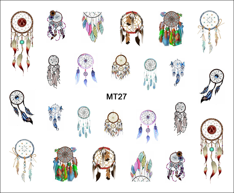 1 Sheet Nail MT27 Beauty Color Dream Catcher POP Nail Art Water Transfer Sticker Decal For Nail Art Tattoo Tips DIY Nail Tool 1 sheet water transfer nail art sticker decal galaxy space 3d print manicure tips diy nail foils decorations 8178
