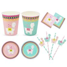 8pcs New Disposable Tableware Set Napkin Paper Plate Cup Alpaca Theme Birthday Party Decorations Kid Girl Supplies Favor