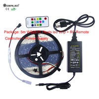 Full Color Pixel LED Strip,Christmas Ligh Set 5m Digital WS2811 RGB LED Strip light+Mini PF14Keys RF Remote Controller