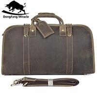 Натуральная отличная винтажная кожаная мужская мода простой дизайн переносная дорожная сумка деловые портфели спортивная сумка