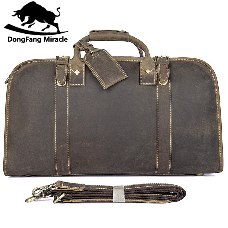 Genuine Excellent Vintage Leather Unisex Fashion Simple Design Portable Travel Bag Business Briefcases Duffle Bag