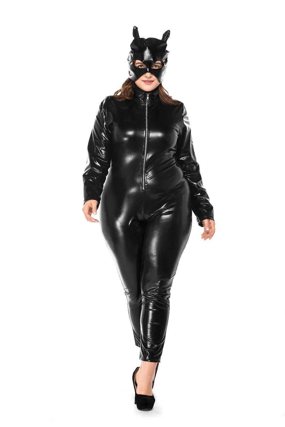 038489f7c5e5 Sexy Black Wet Look PVC Leather Catsuit Exotic Vinyl Latex Zipper Front Jumpsuit  Bodysuit with Mark