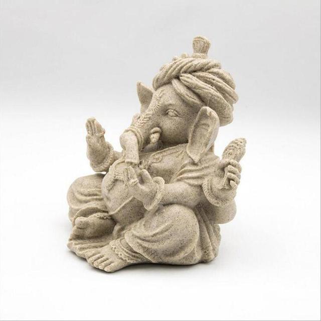 1Pc Ornaments Carved Buddha Statue Decoration Handmade Resin Indian Elephant Head God Southeast Elephant God Handicraft #30