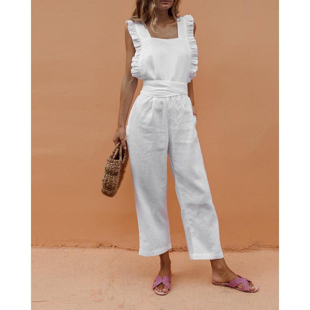 Paris Girl Casual Rompers Womens Jumpsuit Solid Ruffle Slim Overalls Bandage Backless Long Pants Women Jumpsuit Salopette Femme