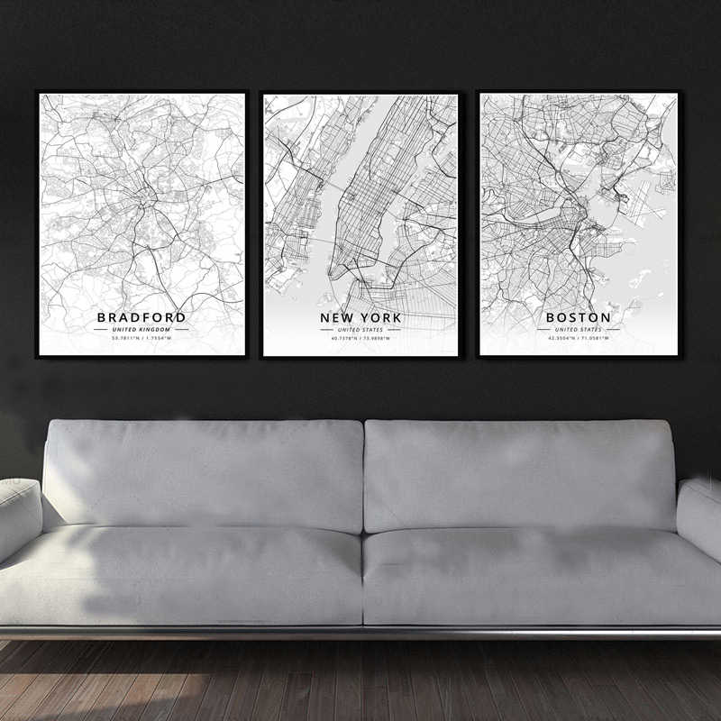 Poster Prints United State World City Travel Map Bordeaux France Painting Canvas Wall Art Pictures Living Room Home Decoration