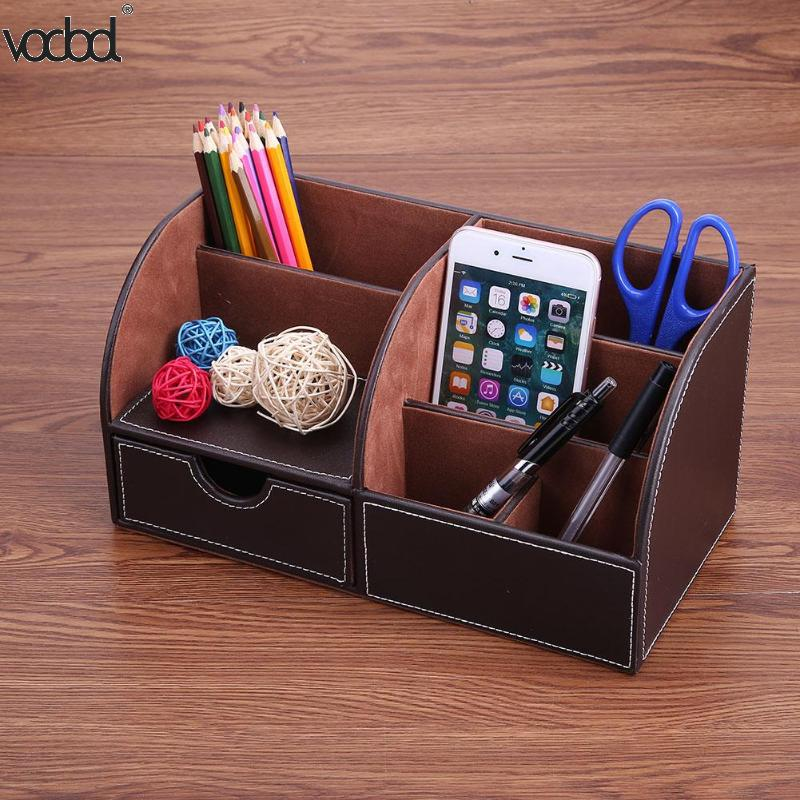 NEW PU Leather Office Desk Organizer Desktop Card Pencil Pen Holder Stationery Storage Box Container Accessories School Supplies 3 grid wooden storage box home office desktop stationery pen pencils holder retro vintage wood desk organizer school supplies