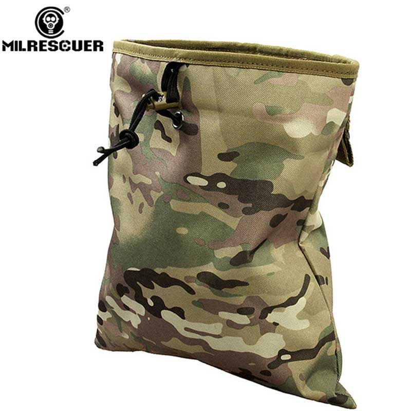 MILRESCUER New Molle bag Large Capacity Military Tactical Airsoft Paintball Hunting Folding Mag Recovery Pouch Molle Belt Loop