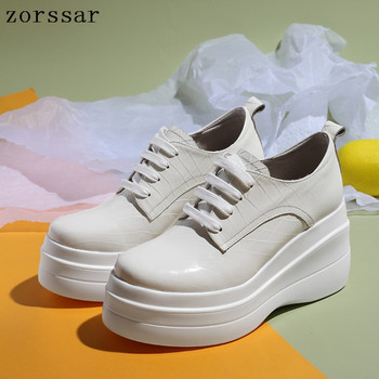 2019 Spring new Women Flat Platform Shoes Genuine cow Leather Lace Up Flat sneakers Shoes Female Casual Creepers Flat Shoes