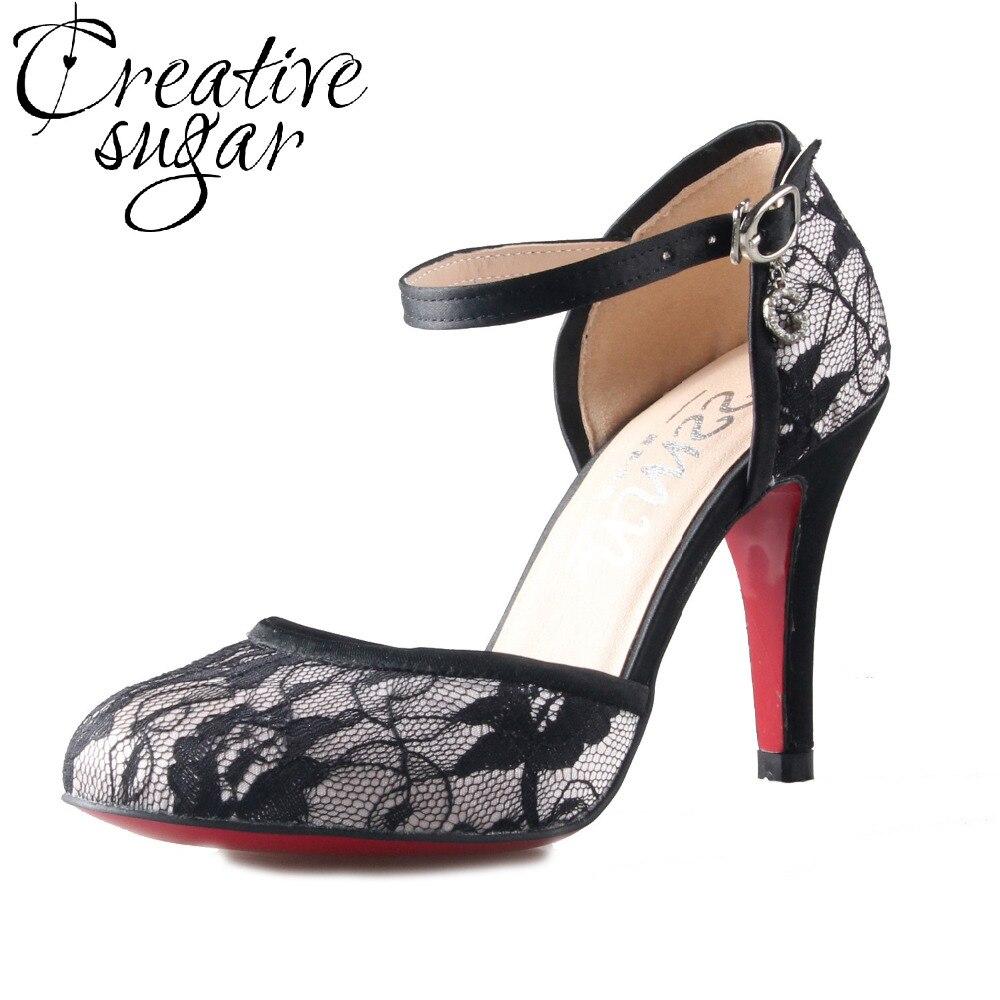 Creativesugar Handmade black white sexy lace D'orsay woman pumps strap buckle heels round toe wedding party evening dress shoes creativesugar elegant t strap lace
